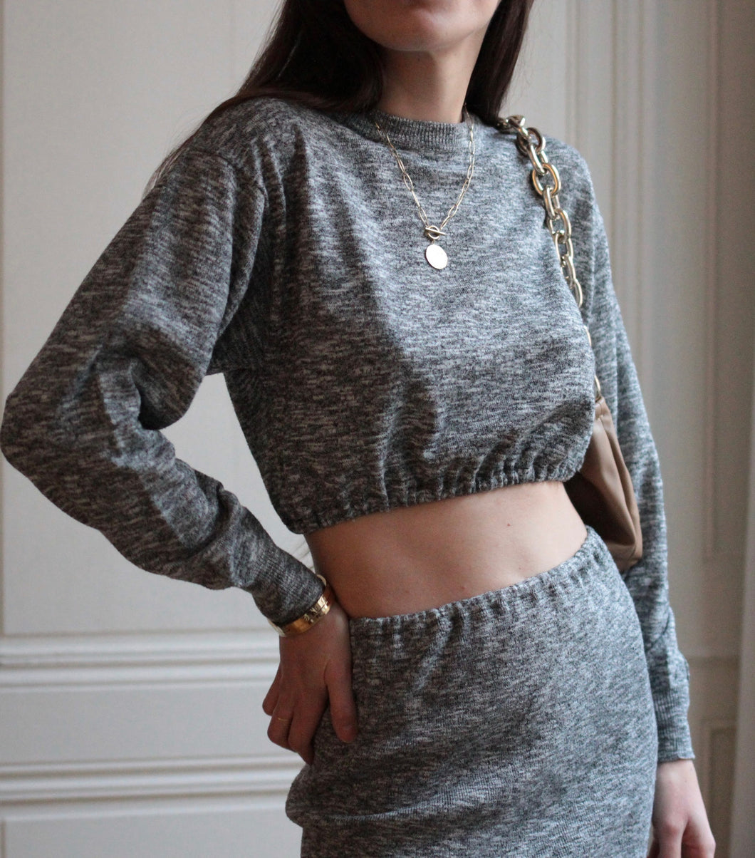 Ensemble gris chiné customisé