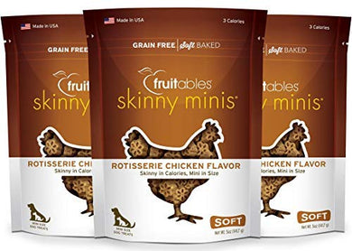 Fruitables Skinny Minis Low Calorie 5 Ounce Rotisserie Chicken Soft & Chewy Dog Treats Pack of 3