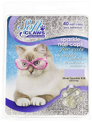 Soft Claws Feline Nail Caps - 40 Nail Caps and Adhesive for Cats Large Silver Sparkle