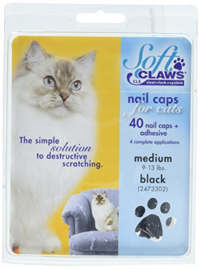 Soft Claws Feline Nail Caps - 40 Nail Caps and Adhesive for Cats Medium Black
