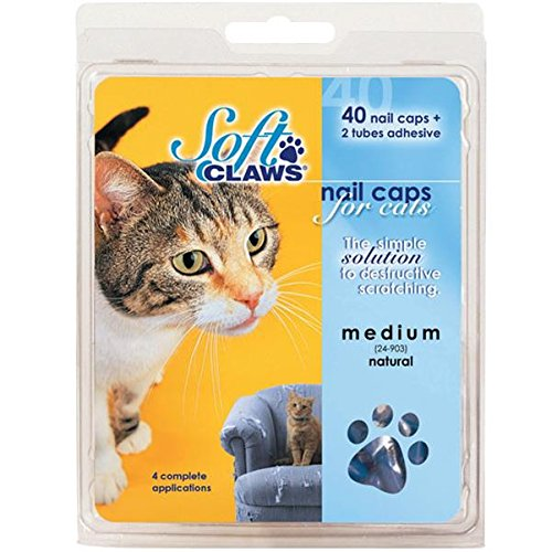 Soft Claws Feline Nail Caps - 40 Nail Caps and Adhesive for Cats Large Gold Sparkle