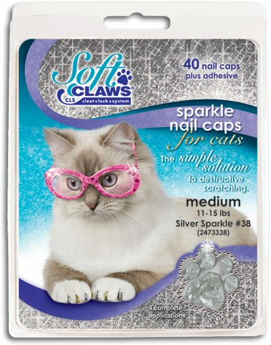 Soft Claws Feline Nail Caps - 40 Nail Caps and Adhesive for Cats Medium Silver Sparkle
