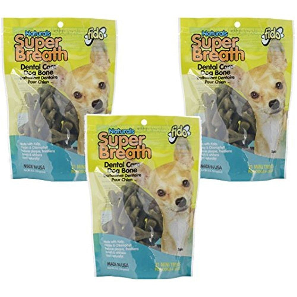 Fido Super Breath Dental Care Dog Bones with Chlorophyll - Mini 21ct (Pack of 3)