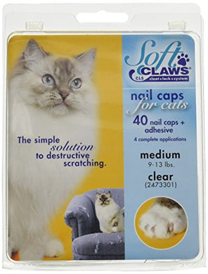 Soft Claws Feline Nail Caps - 40 Nail Caps and Adhesive for Cats Medium Clear