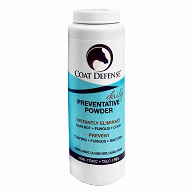 COAT DEFENSE Daily Preventative Powder for Horses. Cleans and Deodorizes Without Water. Shake On, Work In, Brush Out. Eliminates Odor, Bacteria, Fungi, Rain Rot. Safe. Talc-Free. Made in USA. 8 Ounce.