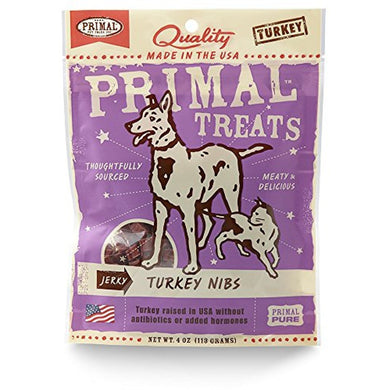 Primal Grain Free Jerky Nibs Treats Turkey 4OZ