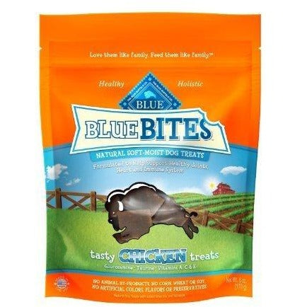 Blue Buffalo Blue Bites Tasty Chicken Natural Soft-Moist Dog Treats, 6-ounce bags - 2 PACK
