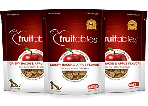 Fruitables Crunchy Apple Bacon Biscuit Training Treat for Dogs 7 Ounce Pack of 3