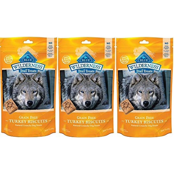 BLUE BUFFALO WILDERNESS TRAIL TREATS GRAIN FREE TURKEY BISCUITS DOG TREATS - 10oz - PACK 3