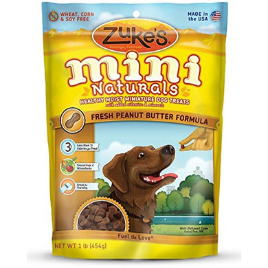 ZUKE MINI NATURAL PEANUT BUTTER/OAT TREAT 16Z (3 PACK)