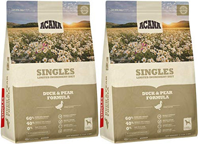 ACANA 2 Pack of Duck & Pear Formula Singles Dog Food, 4.5 Pounds Each, Grain-Free, Limited Ingredient, Made in The USA