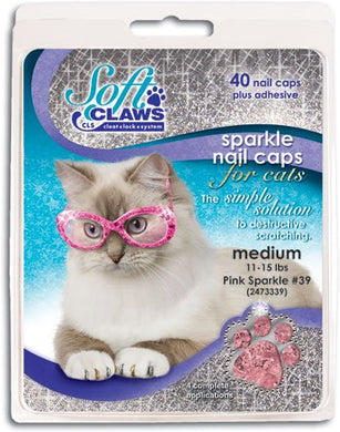 Soft Claws Feline Nail Caps - 40 Nail Caps and Adhesive for Cats Medium Pink Sparkle