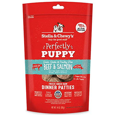 Stella & Chewy's Freeze-Dried Dinner Patties Grain-Free Dog Food 14 Oz - (2 Pack) Beef and Salmon
