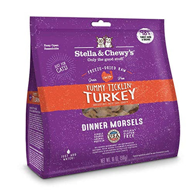 Stella & Chewy's Freeze-Dried Dinner Morsels Grain-Free Cat Food 18 Oz (2 Pack) Tickle Turkey