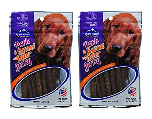 Blue Ridge Naturals Real Pork & Sweet Tater Jerky Dog Treats 6Oz (2 Pack)