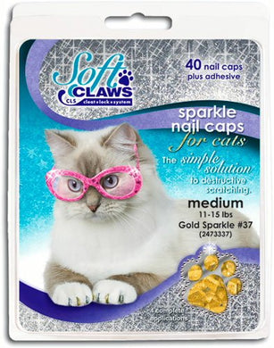 Soft Claws Feline Nail Caps - 40 Nail Caps and Adhesive for Cats Medium Gold Sparkle