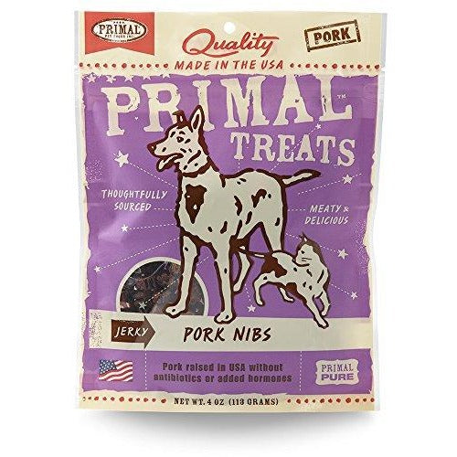Primal Grain Free Jerky Nibs Treats Pork 4OZ