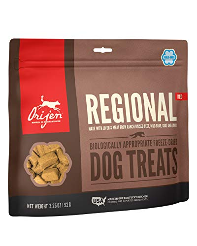ORIJEN Freeze-Dried Dog Treats, Regional Red, Biologically Appropriate & Grain Free 3.25oz