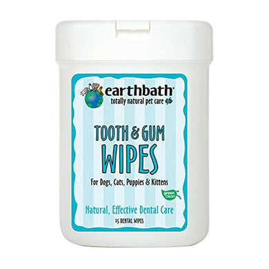 Earthbath 25 Count Tooth and Gum Wipes for Dogs, Cats, Puppies and Kittens