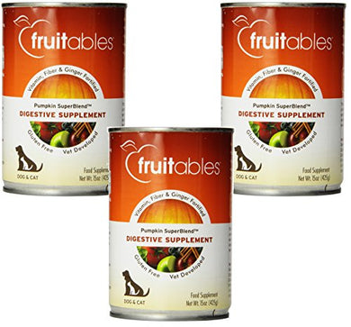 Fruitables Dog Digestive Supplement, Pumpkin, Fortified With Vitamins, Fiber and Ginger, 15 Ounce Cans (3 Pack)
