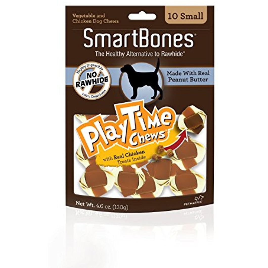 SmartBones Play Time Peanut Butter Dog Chew, Small, 10 pieces/pack