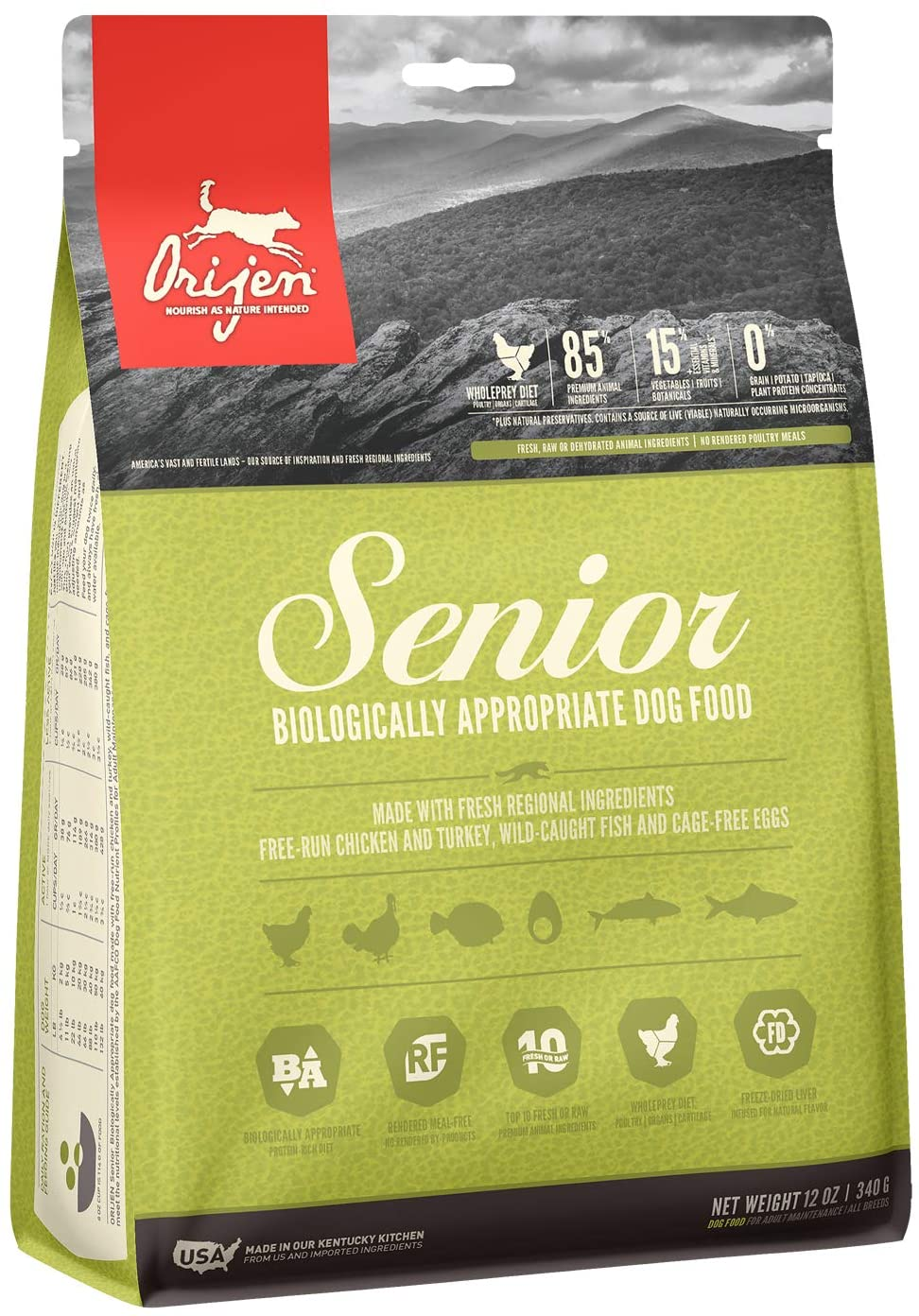 ORIJEN Dry Dog Food, Senior, Biologically Appropriate & Grain Free 12oz