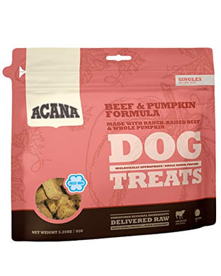 ACANA Singles Limited Ingredient Freeze-Dried Dog Treats, Beef & Pumpkin, Biologically Appropriate & Grain Free 3.25oz