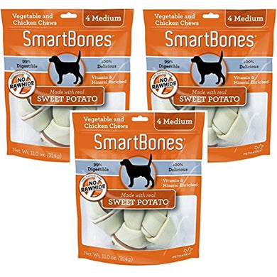 (3 Pack) SmartBones Vegetable and Chicken Medium Bones with Real Sweet Potato - 4 Bones per Pack