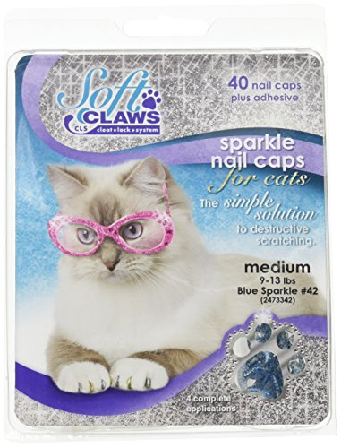 Soft Claws Feline Nail Caps - 40 Nail Caps and Adhesive for Cats Medium Blue Sparkle