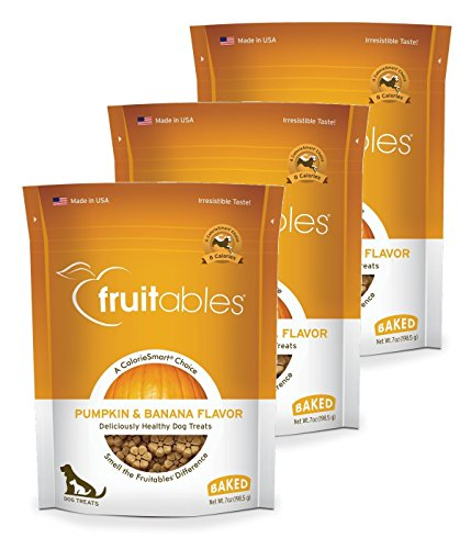 Fruitables Baked Dog Treats Pumpkin & Banana Flavor (3 Pack) 7 oz Each