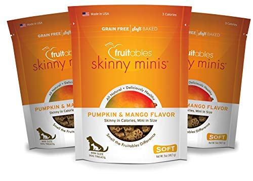 Fruitables Skinny Minis Pumpkin and Mango Low Calorie Soft and Chewy Training Treat Pack of 3