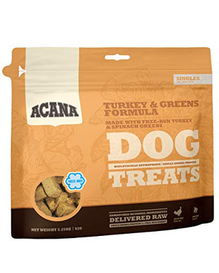 ACANA Singles Limited Ingredient Freeze-Dried Dog Treats, Turkey & Greens, Biologically Appropriate & Grain Free 3.25oz