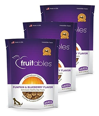 Fruitables Baked Dog Treats Pumpkin & Blueberry Flavor (3 Pack) 7 oz Each