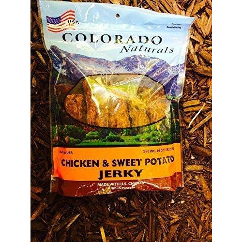Colorado Naturals Chicken & Sweet Potato Jerky Dog Treats. Made in USA with 100% U.S.D.A. Chicken. 1lb