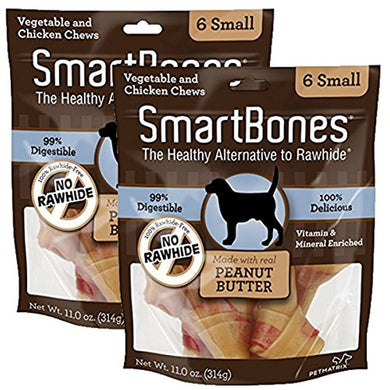 SmartBones Peanut Butter Dog Chew, Small, 6 pieces/pack (2 Pack)