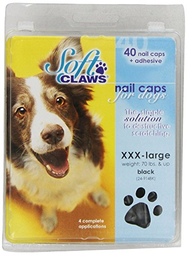 Soft Claws Jumbo Black Nail Caps for Dogs Canine 70+ lbs Black XXXL