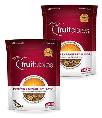 Fruitables Baked Dog Treats Pumpkin & Cranberry Flavor (2 Pack) 7 oz Each