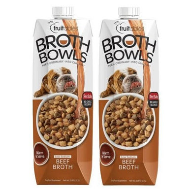 Fruitables Broth Bowls Pet Safe Natural Food Topper (Beef, 2 Pack of 33.8oz)