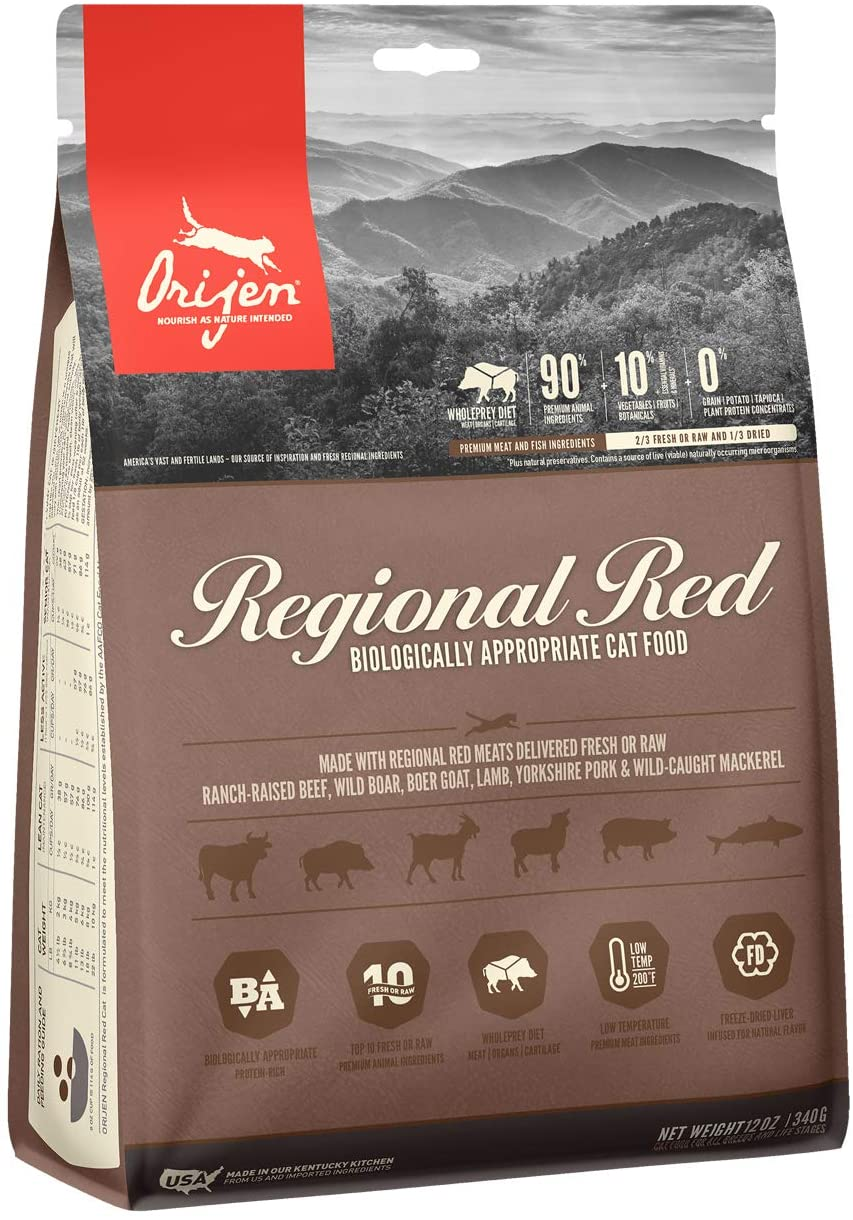 ORIJEN Dry Cat Food, Regional Red, Biologically Appropriate & Grain Free 12oz