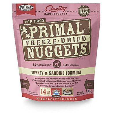 Primal Freeze Dried Pet Foods Turkey and Sardine 14OZ