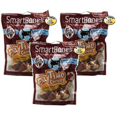 SmartBones PlayTime Small Chicken Chew Treats for Dogs - 10 Bones per Pack (3 Pack)