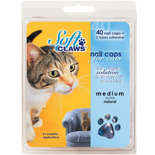 Soft Claws Feline Nail Caps - 40 Nail Caps and Adhesive for Cats Small Purple