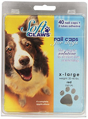Soft Claws Canine Nail Caps - 40 Nail Caps Adhesive Dogs XL Red