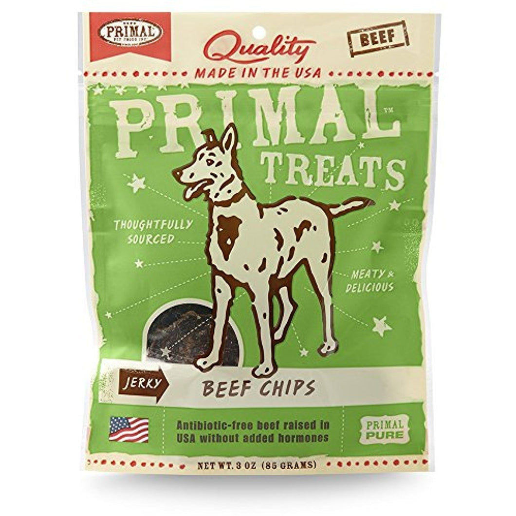 Primal Grain Free Jerky Chips Dog Treats Beef