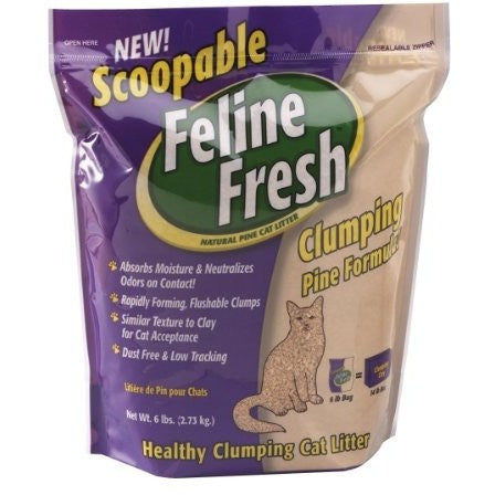 Feline Fresh Scoopable Clumping Pine Cat Litter- 6 LB