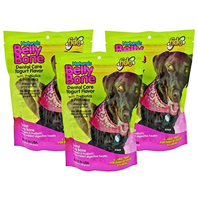 Fido Belly Bone Dental Care Bone Yogurt Flavor - Large 4ct (Pack of 3)