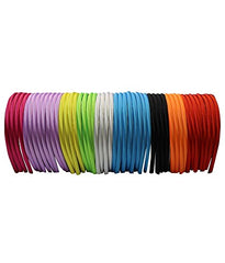 CoverYourHair Satin Headband - 0.5 cm - 48 pcs Beautiful Flexible Headbands