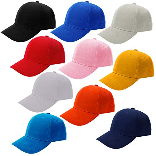 CoverYourHair Baseball Hats - Plain Dad Hat - Baseball Caps - Adjustable Sport Cap ,10 Pack Baseball Cap, Multi color,One Size