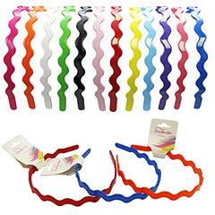 Hard Headbands - 12 Plastic Hairbands ZigZag Style With Teeth by CoverYourHair
