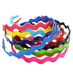 Hard Headbands - 12 Plastic Hairbands- Zig Zap Headbands - Colorful Headbands - Thin Hard Headband by CoverYourHair